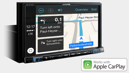 Online Navigacija s Apple CarPlay - INE-W710D